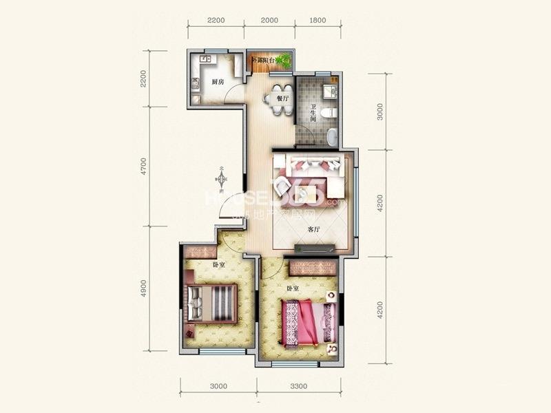 万星幸福城12#G4户型2室2厅1卫1厨 84.53㎡