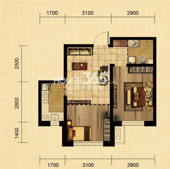 华大城二期E2户型 2室1厅1卫1厨 56.62㎡