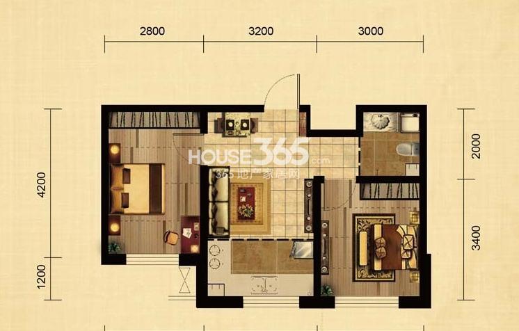 华大城二期D2户型 2室1厅1卫1厨 57.85㎡