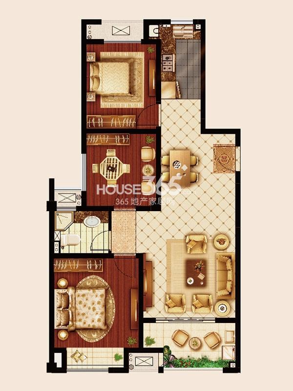 嘉宏云顶B1户型-三房两厅一卫-约108平