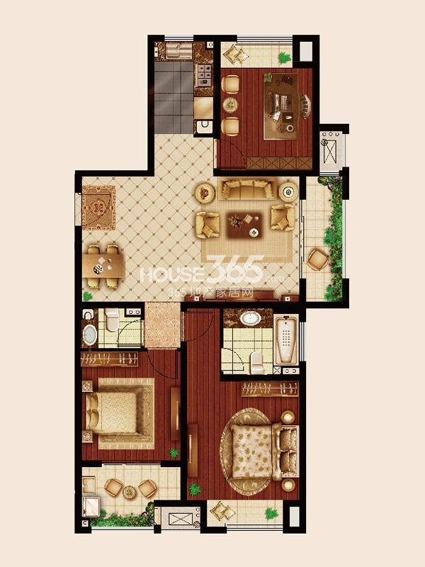 嘉宏云顶C1户型-三房两厅两卫-约118平