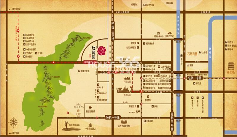 景山玫瑰园交通图