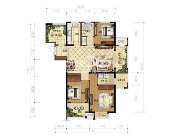 弘阳广场 4室2厅2卫 129平