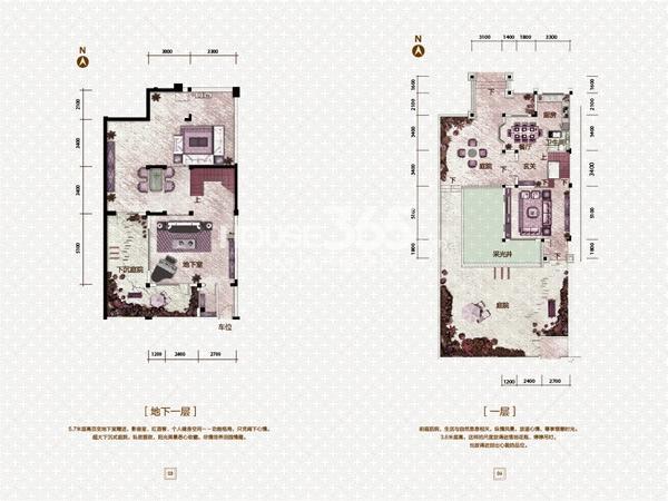 中海盛京府361㎡户型地下一层、一层