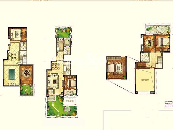 宝能城市广场C2户型4室2厅2卫1厨 134.60㎡