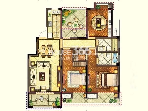 宝能城市广场C3户型3室2厅2卫1厨 123.60㎡