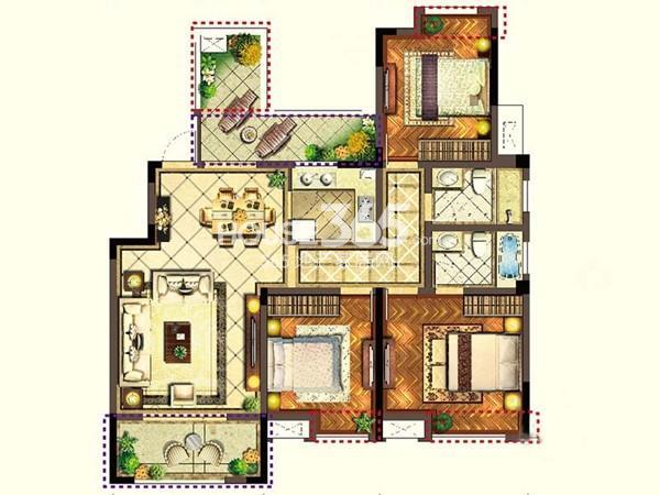 宝能城市广场C4户型3室2厅2卫1厨 119.60㎡