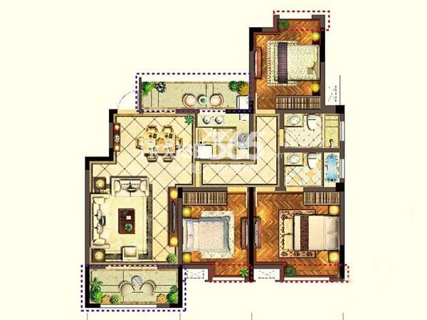 宝能城市广场C5户型3室2厅2卫1厨 119.60㎡