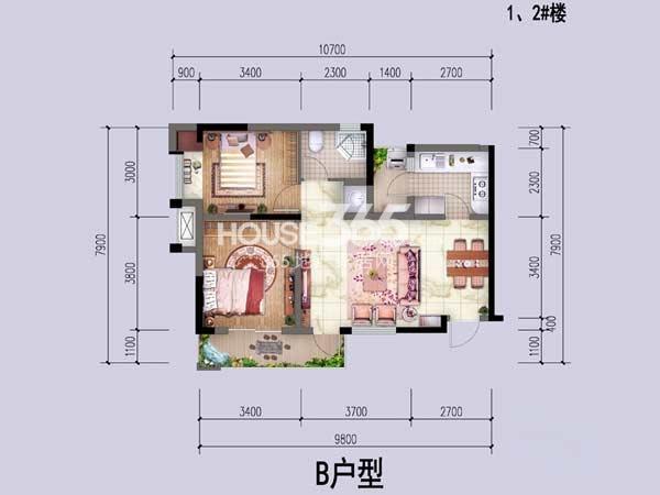 中国铁建公园1159一期1、2幢标准层B户型2室2厅1卫1厨 63.31㎡