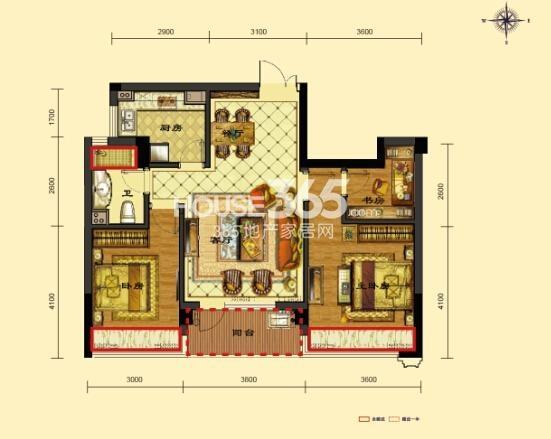 瑞立东方花城3号楼D1户型 约90㎡ 三房两厅一卫