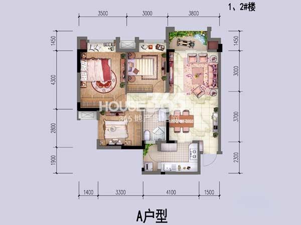 中国铁建公园1159一期1、2幢标准层A户型2室2厅1卫1厨 78.60㎡