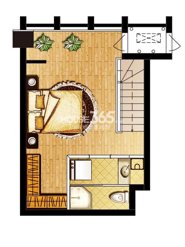 巨凝金水岸loft 35.3平二层户型图