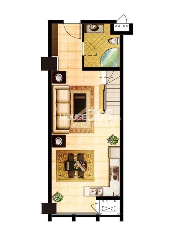 巨凝金水岸loft 63.9平 一层户型图