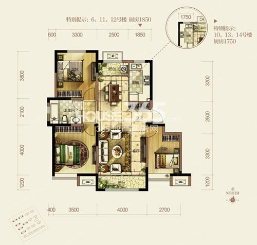 洋房105平米