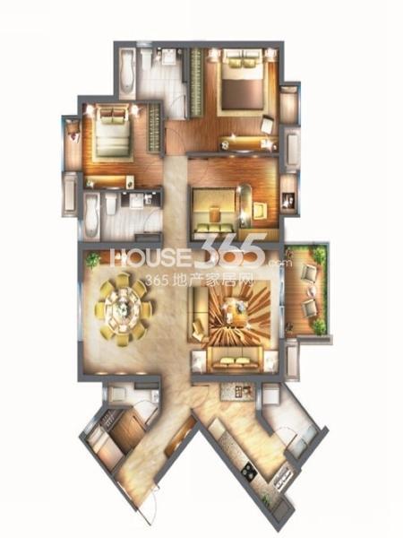 世纪江尚传世红钻3房3室2厅2卫1厨 156.00㎡