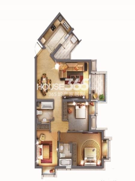世纪江尚尚城绿钻3房3室2厅2卫1厨 120.00㎡