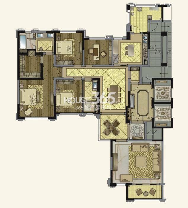 华润金悦湾H3户型4室3厅2卫 211平