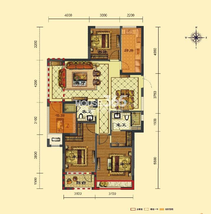 瑞立东方花城5、6、8号楼F户型 约135㎡ 四房两厅两卫