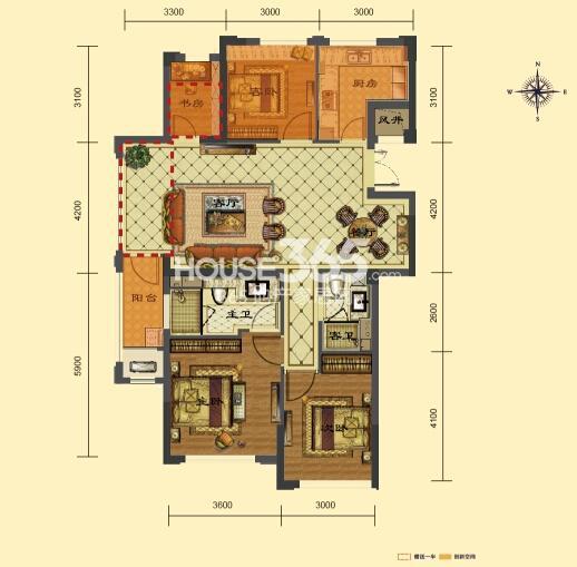 瑞立东方花城3、4、7号楼E户型 约117㎡ 四房两厅两卫
