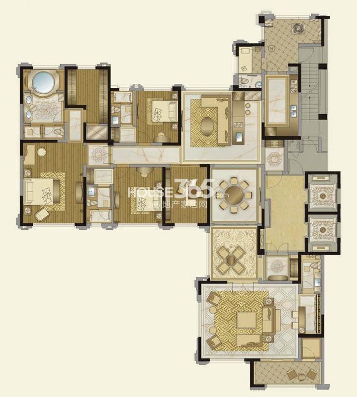 华润金悦湾J户型 4室5厅5卫 298平