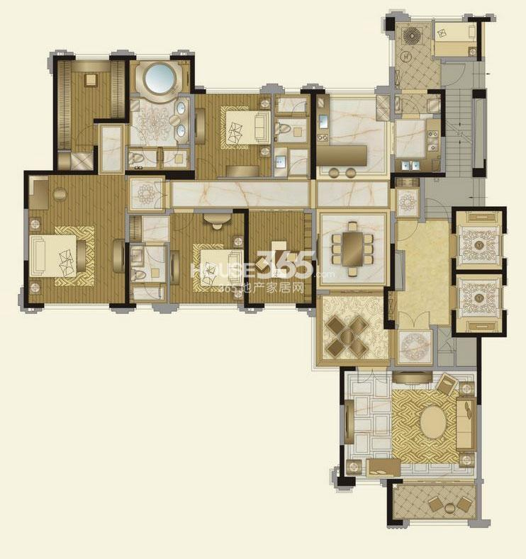 华润金悦湾I户型4室4厅3卫 249平