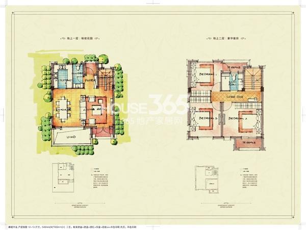 九龙仓碧堤半岛别墅B户型图195平-200平一、二层