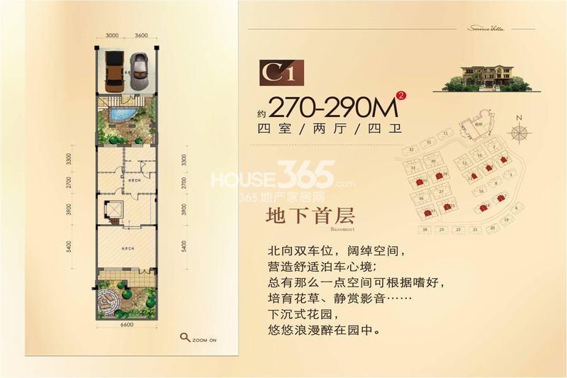 源山墅别墅C1户型地下首层270-290平户型图