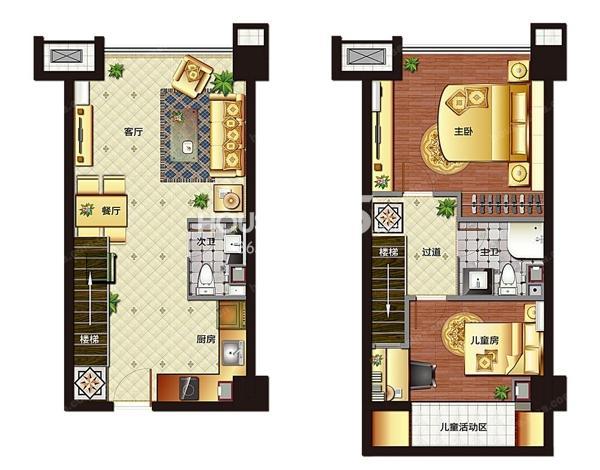 枫华广场SOHO壹公馆户型图公寓约46平