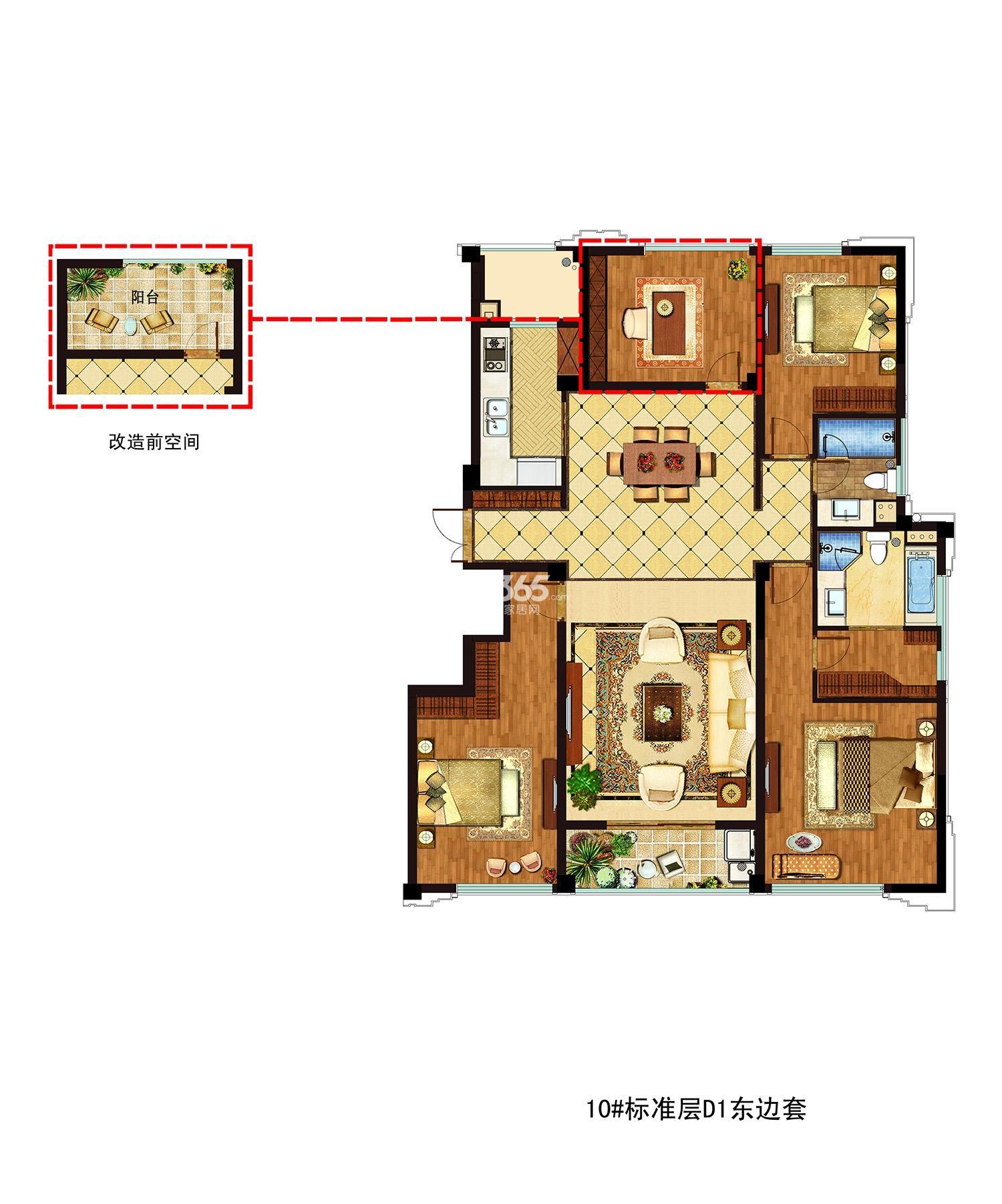 九龙仓碧玺项目10号楼标准层D1东边套 157㎡ 三房两厅两卫
