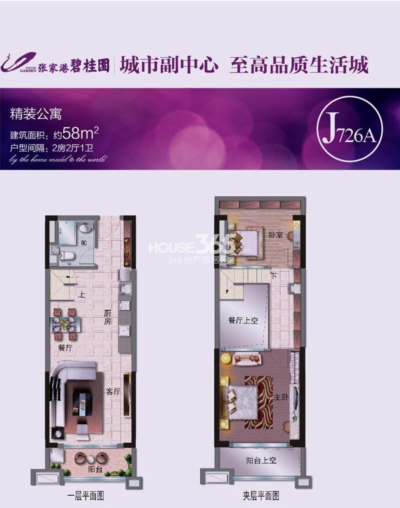 张家港碧桂园精装公寓58平米