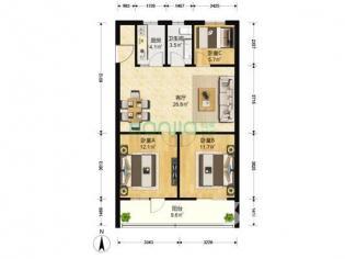 珠江路511号3室2厅1卫91平方产权房精装