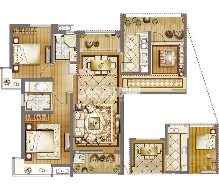 雅居乐国际E户型 3室2厅2卫1厨122㎡
