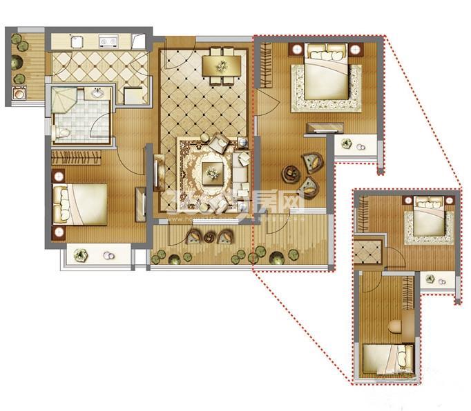 雅居乐国际B户型 2室2厅1卫1厨89㎡