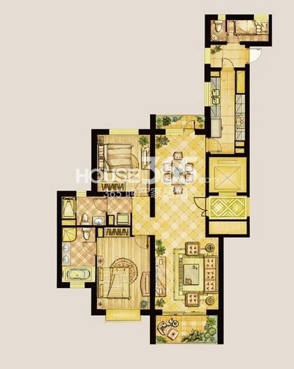 世茂新五里河5号楼162平(两室两厅)