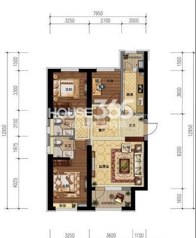 世茂新五里河A户型3室2厅2卫1厨 127.00㎡