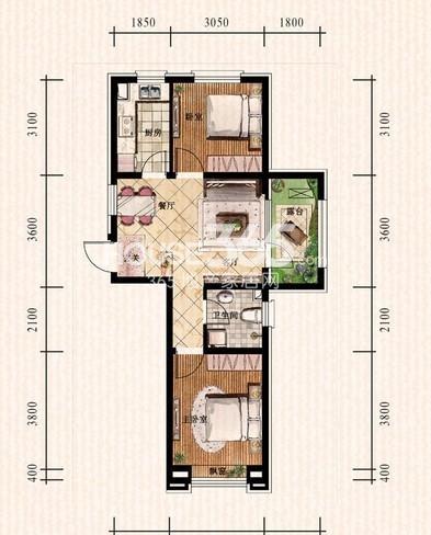 中铁丁香水岸49#D户型2室2厅1卫 69.62㎡