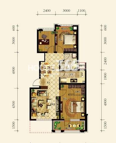 中铁丁香水岸洋房B户型2室2厅1卫 88.00㎡