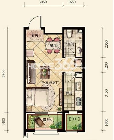 中铁丁香水岸48#B户型1室1厅1卫 43.00㎡