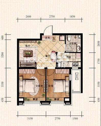 中铁丁香水岸49#E户型2室2厅1卫 62.90㎡