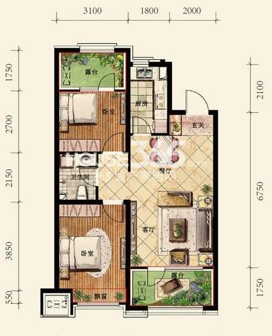 中铁丁香水岸48#C户型2室2厅1卫 78.00㎡