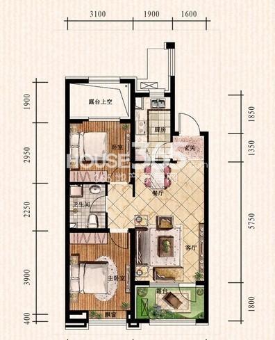 中铁丁香水岸49#F户型2室2厅1卫 77.60㎡