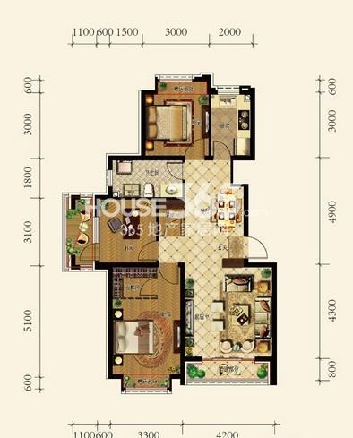 中铁丁香水岸洋房A户型2室2厅1卫 96.00㎡