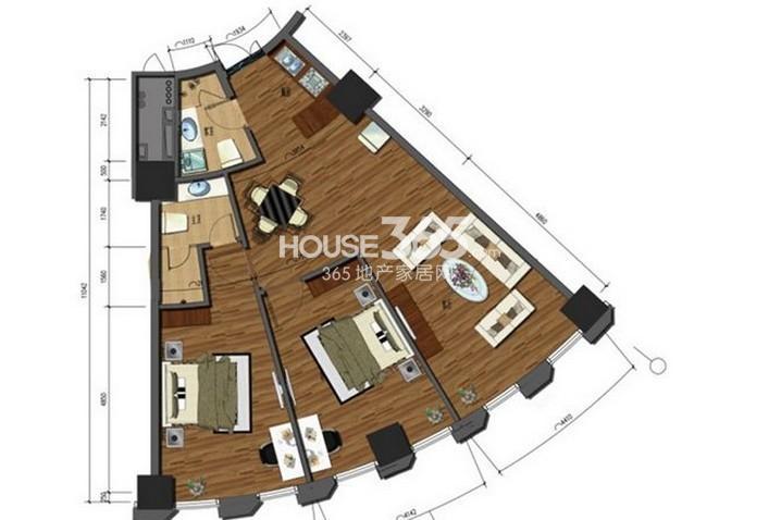中铁瑞达广场F户型2室2厅2卫 134.00㎡