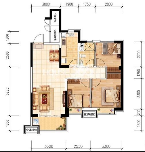 沈阳恒大名都30#A(5-32层标准层)3室2厅1卫 104.00㎡