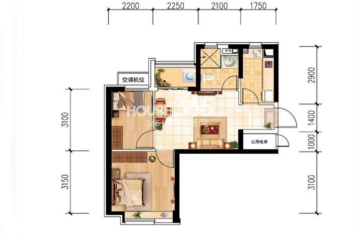 沈阳恒大名都29#E(5-32层标准层)2室2厅1卫 62.00㎡