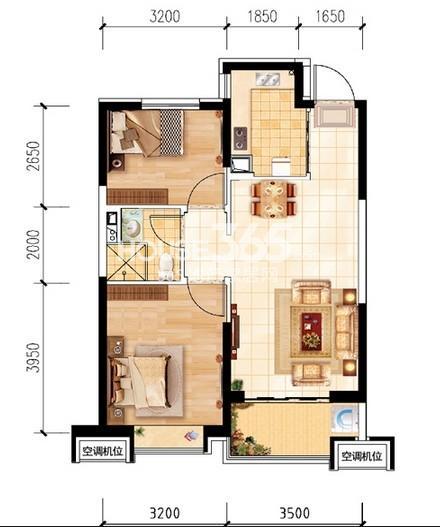 沈阳恒大名都30#B(5-32层标准层)2室2厅1卫 82.00㎡
