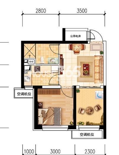 沈阳恒大名都29#D(5-32层标准层)2室1厅1卫 53.00㎡