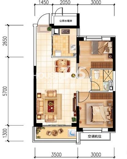 沈阳恒大名都29#C(5-32层标准层)2室2厅1卫 75.00㎡