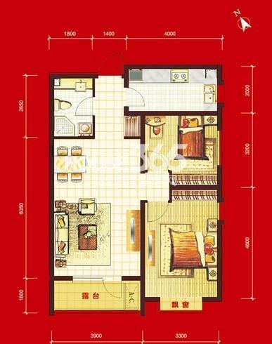 华府丹郡B10#-H2户型2室2厅1卫1厨 86.00㎡