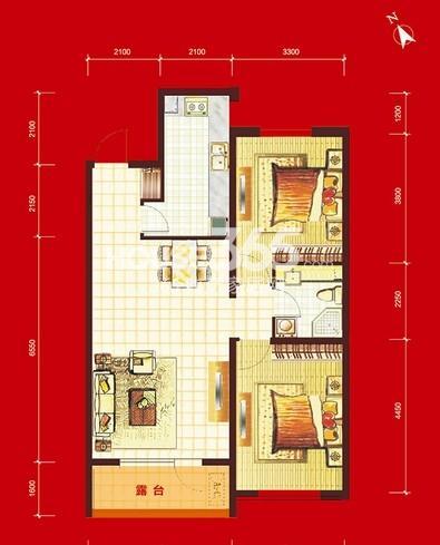 华府丹郡B10#-H3户型2室2厅1卫1厨 96.00㎡